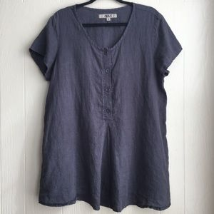 FLAX Linen Short Sleeve Blouse